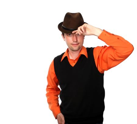 business in the rhythm of salsa, manager-dancer in brown hat Stock Photo