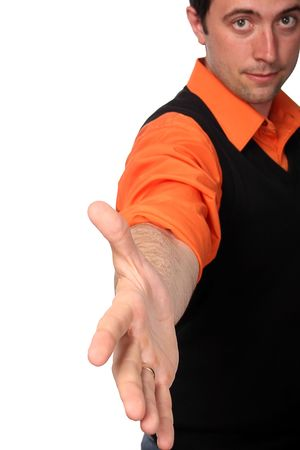 lets shake our hands! If you ready - we'll do it for you! Lets do it together!(cuted banner style, focus on hand) Stock Photo - 3008239