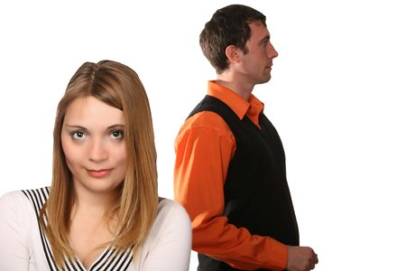 they have fallen out, couple with troubles, end of the quarrel, total misunderstanding Stock Photo - 3022343