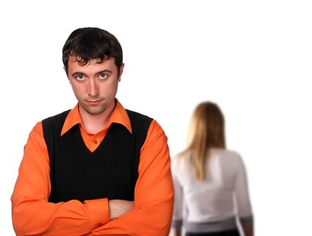 they have fallen out, couple with troubles, end of the quarrel, total misunderstanding Stock Photo - 3022341