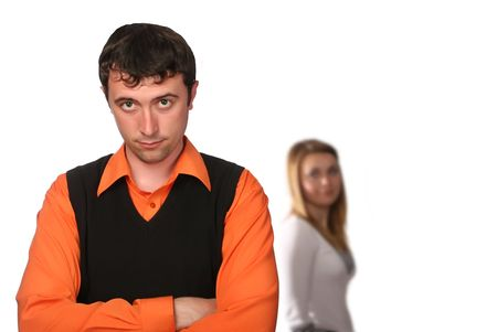 they have fallen out, couple with troubles, end of the quarrel, total misunderstanding Stock Photo - 3022340