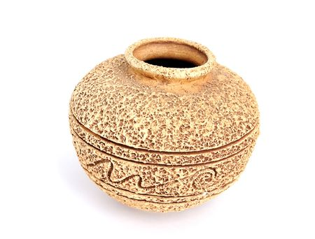 ornamental old handmade ceramic vase with rough suface and ornament Stock Photo