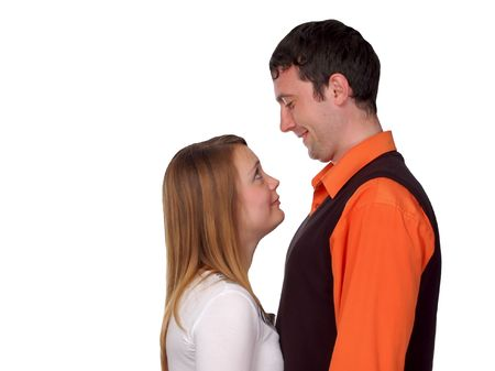happy couple - pretty blonde and dark haired man photo