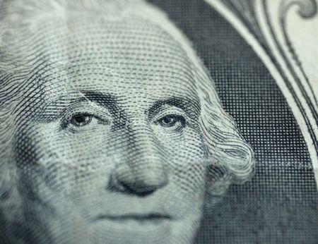 freemason: macro of one dollar -  eye of president Stock Photo