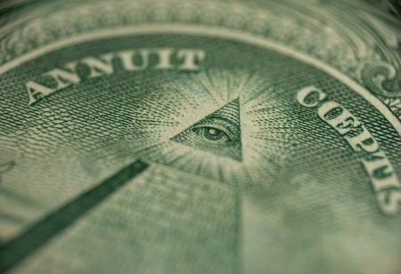 freemason: macro of one dollar - sign of mason (Freemason) pyramid with eye in triangle