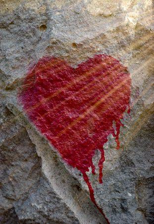 closeup of graffiti bleeding heart and sunbeams photo