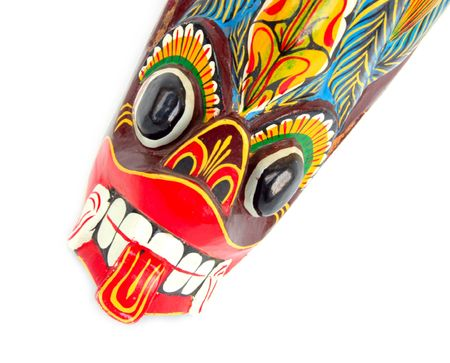 close-up of african ritual tribal mask of spirit defender photo