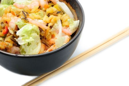 healthy food - rice, shrimps and vegetables in bowl photo