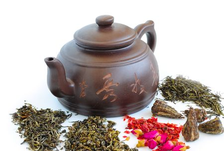 classic chinese teapot of brown clay  Stock Photo