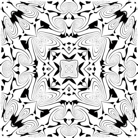 seamless black and white pattern of deformated spirals Vector