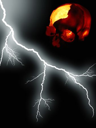 Halloween background - burning skull against black background with lightning photo