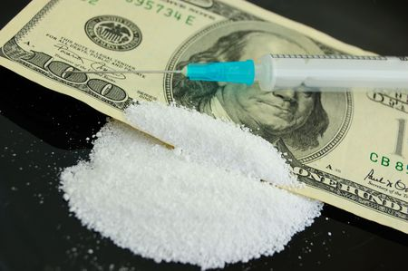 narcomania concept - narcotic, money and syringe against black Stock Photo - 3648798