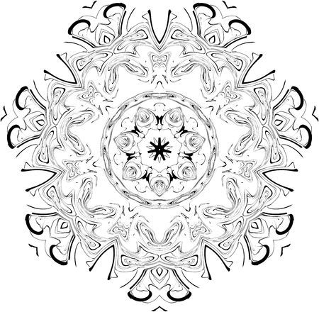 black and white symmetry gothic pattern of curves Stock Photo - 3648844