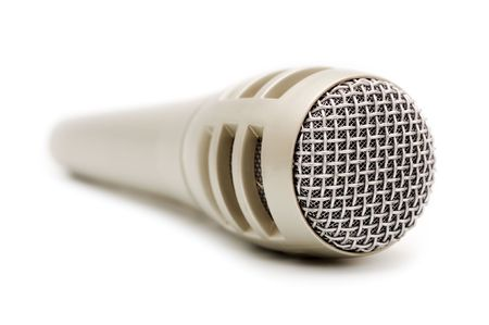 dynamic microphone for karaoke and plug connector against white Stock Photo - 3648850