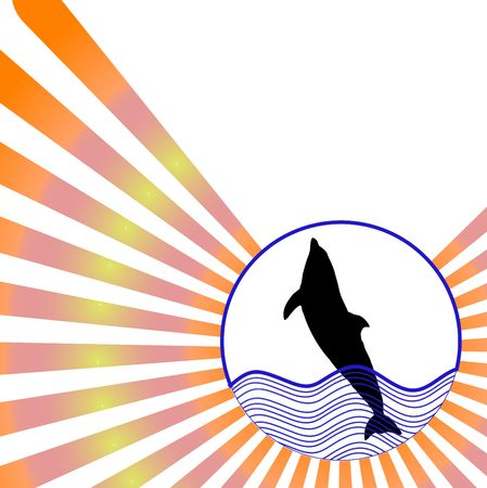 silhouette jumping dolphin against colorful radial rays background  photo