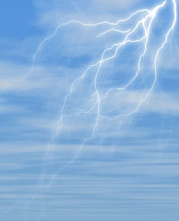 lightning against blue sky covered with fluffy clouds Stock Photo