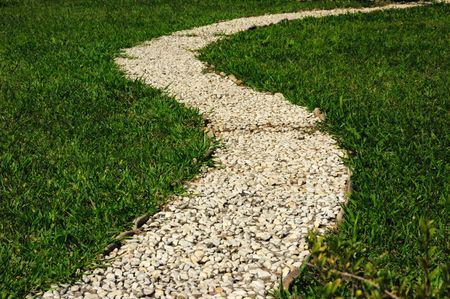 footway: close-up of garden footway of stones of white color
