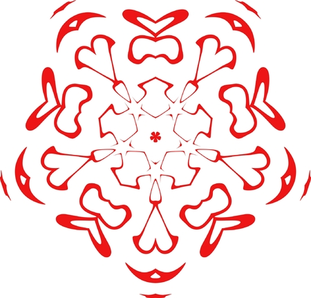 decorative vector snowflake of red color Vector
