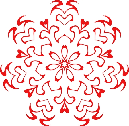 decorative vector snowflake of red color Stock Vector - 3729134