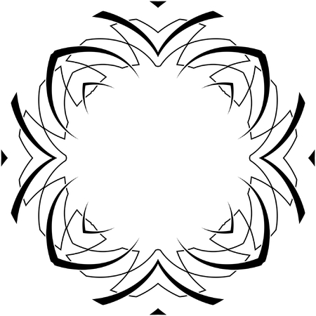 black and white symmetry gothic pattern of curves Vector