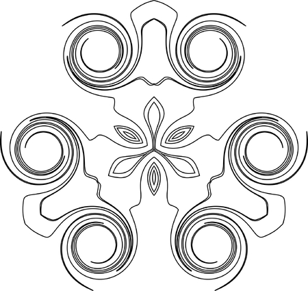 black and white symmetry pattern of curled curves Vector