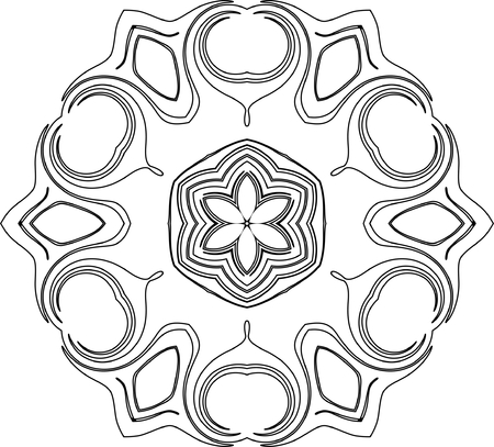 black and white symmetry pattern of curves Vector