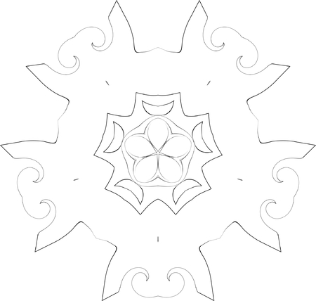 black and white symmetry ornate pattern Stock Vector - 3737908