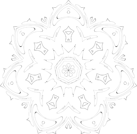black and white symmetry ornate pattern Vector