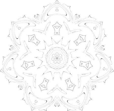 arcs: black and white symmetry ornate pattern Illustration
