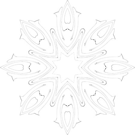 black and white simple symmetry pattern of curves with acute angles Vector