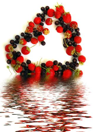 Duality of feelings - heart symbol made of fresh strawberries and bog bilberries photo