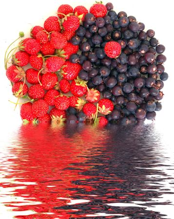 yin yang symbol made of fresh strawberries and bog bilberries photo