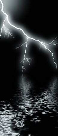 flash of lightning against night sky over water Stock Photo