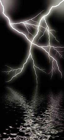 thunderclap: haloween -  flash of lightning against night sky ower water
