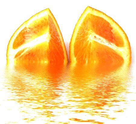 lemony: two quarters of orange with rough surface Stock Photo