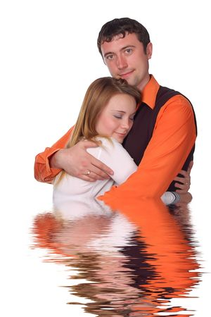 happy couple - pretty blonde and dark haired man Stock Photo - 3746592
