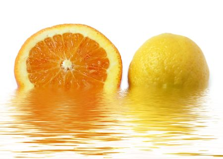colored slice of orange and lemon with rough surface in water Stock Photo - 3746591