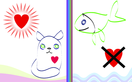 cat, fish and intricate love Vector