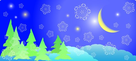 winter postcard - xmas night with white snowflakes and old moon photo