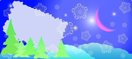 winter postcard - xmas night with white snowflakes and old moon Vector