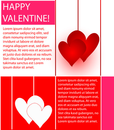 colorful valentines design of hearts, lines and text Vector