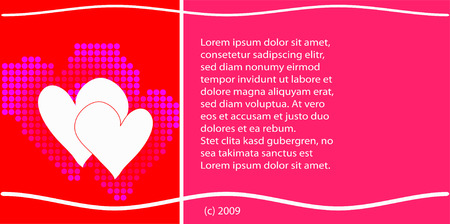 colorful valentines card design of hearts, lines and text Vector