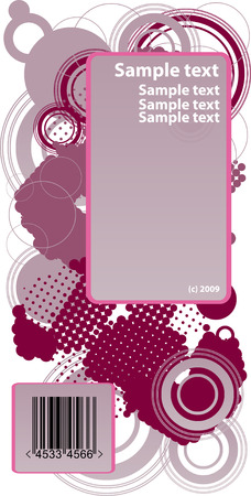 futurist: pink sample text frame with circles and dots background and barcode Illustration