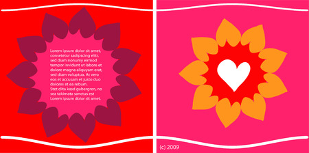 flower of hearts - colorful valentines card design Vector