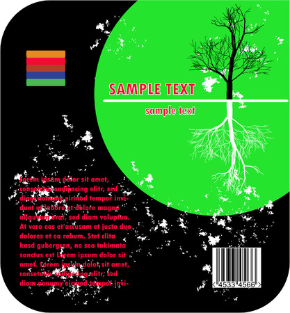 environmental design - round grunge sample text frame with trees and barcode Vector