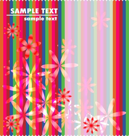 feminine background: rayas de colores y flores femeninas de fondo