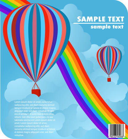 air sport: baloons in blue sky with rainbow cover design