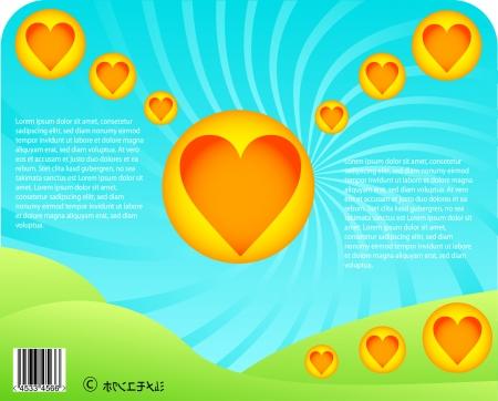 hillock: anime coraz�n de San Valent�n tarjeta DESIN - dibujos del paisaje de verano Vectores