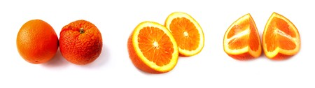 sweet segments: set of colored slices of orange isolated on white with shadows
