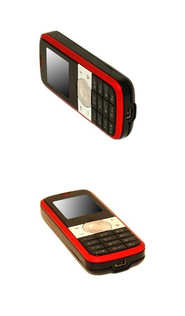 cell phone with silver and red stripe photo